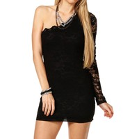Black Lace Single Sleeve Short Dress