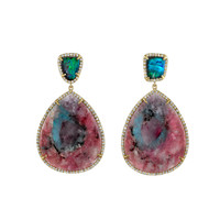 Irene Neuwirth Rose Mineral Earrings - Opal Earrings - ShopBAZAAR