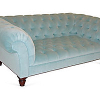 "Victorian 78"" Chesterfield, Sky Blue"