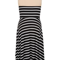 striped high-low plus size tube dress