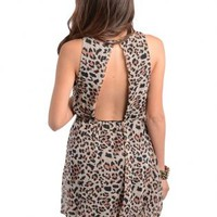Leopard Print Open Back Dress