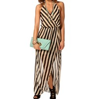 Striped Front Wrap Maxi Dress