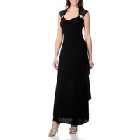 R & M Richards Women's Black Lace Detail Knit Gown