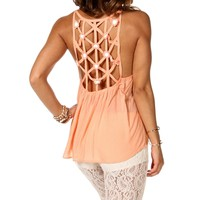 Blush Crochet Flower Cage Top