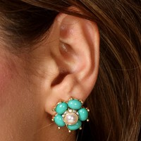 Pear Green Flower Studs