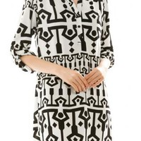Black Three-fourth Sleeve Print Dress