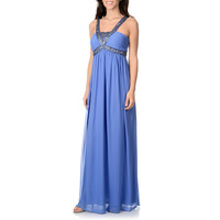 Decode 1.8 Women's Periwinkle Beaded Empire Waist Gown