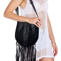Black Leather Fringe Crossbody Bag with Velvet and Bronze St