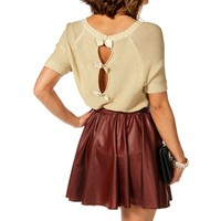 Beige Short Sleeve Bow Back Sweater