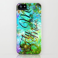 FLY ME TO THE MOON, REVISITED - Colorful Abstract Painting Space Typography Blue Green Galaxy Nebula iPhone & iPod Case by EbiEmporium