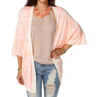 Neon Orange Diamond Print Cardigan