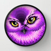 Pink Owl Eyes Wall Clock by Bluedarkat Lem