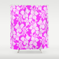 White Lace on Pink Shower Curtain by Alice Gosling