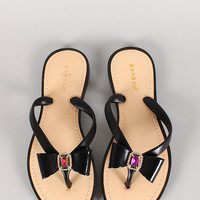 Bamboo Glenn-04 Jelly Jeweled Bow Thong Flat Sandal