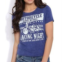 Mineral Wash Tee with Motorcycle Racing Night Screen and Short Sleeves