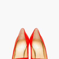 RED SUEDE POINTED MONROE PUMPS