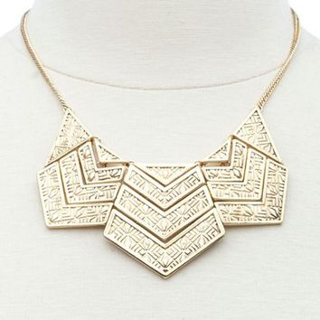 TRIBAL ETCHED CHEVRON COLLAR NECKLACE