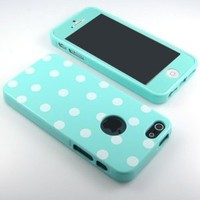 Glossy Polka Dot pattern Flex Gel silicone Case cover and mint screen film included for iPhone 5/5S - mint -