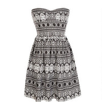 Ruched Back Strapless Aztec Dress