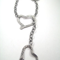 Hammered Heart Lariat Gunmetal Finish Necklace