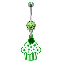 316L Surgical Steel Irish Styled Cupcakes Dangle Navel Ring with Green CZ - 14G, 3/8'' Length - Sold as a Single Item