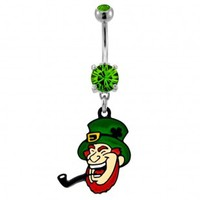 316L Surgical Steel Leprechaun Dangle Navel Ring with Green CZ - 14G, 3/8'' Length - Sold as a Single Item