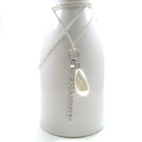 Sterling Silver and Pearl Pendant Bridal Necklace