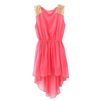 Zacoo Women's Asymmetric Hem Chiffon Dress