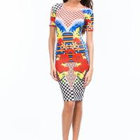 Check It Out Floral Mixed Print Dress