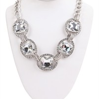 Statement Necklace with Large Crystal Stones and Chain Link