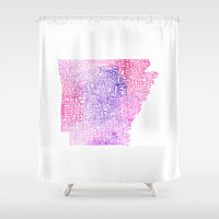 Typographic Arkansas - Pink Watercolor Shower Curtain by CAPow!