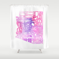 Typographic Arizona - Pink Watercolor Shower Curtain by CAPow!