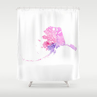 Typographic Alaska - Pink Watercolor map art Shower Curtain by CAPow!