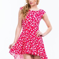 Flower Wower High-Low Skater Dress