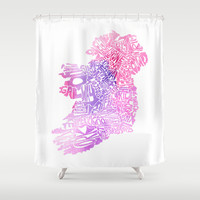 Typographic Ireland - Pink Watercolor Shower Curtain by CAPow!