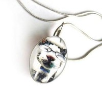 Cool cat wearing eye glass crystal necklace 911 | funnygirl5588 - Jewelry on ArtFire