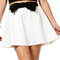 WhiteBlack Bow Skater Skirt