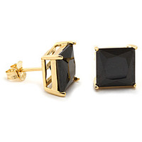 Gold Black Princess Brilliant Sterling Silver CZ Stud Earrings