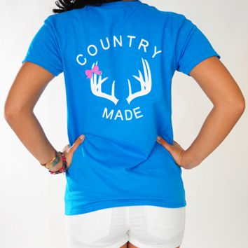 Country Made Antler Shirt: Marine Blue