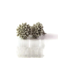 Cool Gray Dahlia Flower Earrings