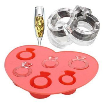 Vktech Funny Ice Tray Diamond Love Ring Ice Cube Style Freeze Ice Mold Ice Maker Mould