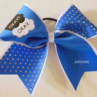 Okay Okay The Fault in Our Stars Rhinestone Large Cheer Bow Hair Bow Cheerleading
