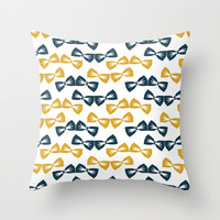 Zany Du Bow Tie Pattern Throw Pillow by Zany Du Designs