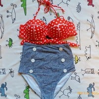 2013 New RETRO Swimsuit Swimwear Vintage Push Up Bandeau HIGH WAISTED Bikini Set
