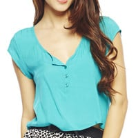 Short Sleeve Henley Top | Wet Seal