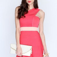 Coral Netted Strap Dress