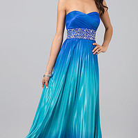 Floor Length Strapless Sweetheart Ombre Dress