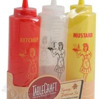 Condiment Squeeze Bottles Sets Ketchup Mustard Bottles from RetroPlanet.com