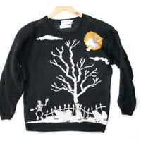 Dancing Skeletons Tacky Halloween Ugly Sweater