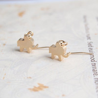 FREE SHIPPING-Cute Little Elephant Earrings, Matte Gold Plated, God Elephant Earrings, Animal Drop Earrings, Girl Earring, Cute Earrings
